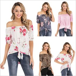 knotted shirts Australia - T-Shirt Women Summer Off Shoulder Tops Knot Floral Blouse Printed Casual Shirts Fashion Sexy Tees Tunic Blusas Women Clothing Vestidos B5447