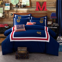 Red Embroidered Bedding Australia - Vintage Embroidered Bedding 4 Pieces Red White Stripe Sheet Sets British Style Spring and Autumn Cotton Bedding Suit