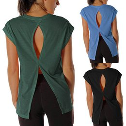 Wholesale Clothing For Women Sale Australia - Women Open Back Workout Top Shirts Yoga Activewear Exercise Tops T Shirts Running Training Clothes for Womem Hot Sale