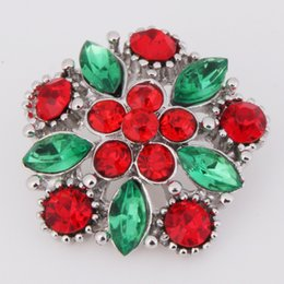 Red Metal Jewelry Australia - XH3384 christmas flower Metal Snap button (fit 18mm 20mm snaps) jewelry
