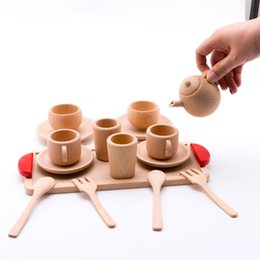 wooden vegetables toys NZ - Baby Toy Wooden Kitchen Toys Pretend Play Cutting Fruit Vegetables Mini Solid Beech Tea Coffee Cup Set Early Education Food Toys Y200428