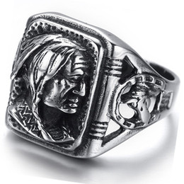 Wholesale tribal indian for sale - Group buy Men s Jewelry Gothic Tribal American Indian Stainless Steel Ring Classics Punk Biker Band Silver Black By Mate Rings