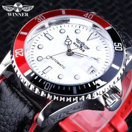 hand watch for men sports Australia - Winner 2018 Fashion White Red Sport Watches Calendar Display Automatic Watches for Men Luminous Hands Genuine Leather