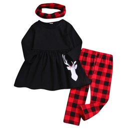 66cb17ac2e18 2018 New Arrival Toddler Baby Girls Christmas XMAS Deer Cartoon Printing  Dresses Plaid Pants Scarf Clothing Set Baby Clothes