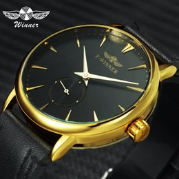 $enCountryForm.capitalKeyWord Australia - Winner Fashion Casual Mechanical Watch Men Leather Strap Ultra Thin Dial Concise Golden Mens Watches Top Brand Luxury Clock 2019 Y19061905