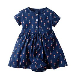 $enCountryForm.capitalKeyWord UK - Autumn Infant Baby Girls Floral Rompers Dresses Summer Short Sleeve Front Buttons Jumpsuits Cotton Newborn Flower Cartoon Onesies Dress