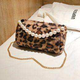 Faux Fur Bags for Women 2018 Leopard Printing Shoulder Bag Pearl Tote Bags  Handbags Women Famous Brands Chain Messenger Bag Sac 9d2a90ee0caa7
