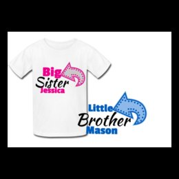 6c6d9b4849cc Personalised Big Sister Little Brother- Matching t-shirts - new baby shower  gift