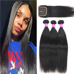 Discount virgin malaysian hair closure loose wave - 9A Brazilian Virgin Hair With Closure Straight Loose Deep Wave 3 Bundles Hair With 4x4 Lace Closure Unprocessed Human Ha