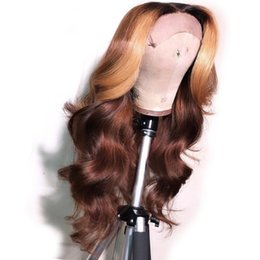 China Brazilian Remy Full Lace Human Hair Wigs Ombre Brown With Honey Blonde Highlights Human Hair 13X6 Lace Front Wig cheap hair colors highlights suppliers
