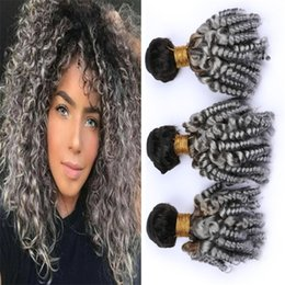 Black And Grey Hair Australia - #1B Grey Ombre Funmi Curly Human Hair 3 Bundles 300g Black and Gray Ombre Bouncy Spiral Curls Virgin Brazilian Hair Weave Extensions