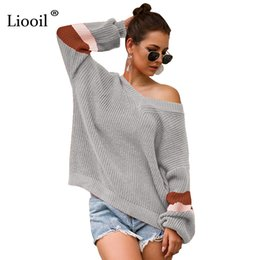 $enCountryForm.capitalKeyWord Australia - Liooil Color Block Jumper Women Knitted Loose Sweater Autumn 2019 Pullover Batwing Long Sleeve Knit Top V Neck Winter Sweaters