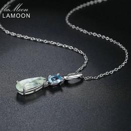 Topaz Pendants Australia - Lamoon Natural Gemstone Prehnite & Topaz 925 Sterling Silver Chain Pendant Necklace S925 Silver Color Jewelry For Women Lmni063 J190613