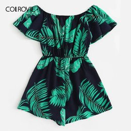 plus size shorts jumpsuit UK - Colrovie Plus Size Off The Shoulder Tree Print Ruffle Boho Jumpsuit Rompers Women 2019 Summer Short Sleeve Vacation Playsuits Y19051601