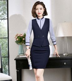 $enCountryForm.capitalKeyWord Australia - Formal Ladies Waistcoat & Vest Women Business Suits Two Piece Skirt and Top Sets OL Styles Navy Blue