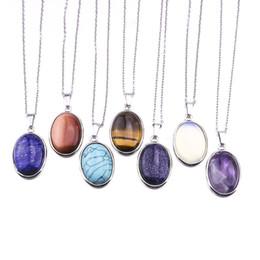 Tiger Eyes Pendant NZ - 2.5CM Oval Natural Stone Pendants Necklace Gold Pink Quartz Crystal Tiger Eye Opal Neklace Jewelry