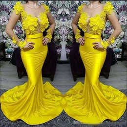 picture girl sexy model NZ - Sexy Plus Size Yellow African Black Girl Mermaid Prom Dresses 2020 Long Mermaid Dress Arabic Long Sleeve Evening Formal Dress Gowns