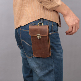 fanny packs Canada - Men Genuine Leather Belt Bag Brown Crazy Horse Leather Fanny Packs Male Waist Bag Phone Pocket Hip