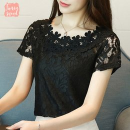 formal black lace tops Australia - New 2019 Blouse Summer Women Shirt Short Sleeve Lace Fashion Lace Hollow Clothing Sweet Black Women Tops Blusas D698 30