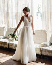 sexy open back beach wedding dresses Australia - 2020 Sexy Cheap Bohemian Beach A Line Wedding Dresses V Neck Lace Appliques Tulle Illusion Open Back Long Plus Size Formal Bridal Gowns