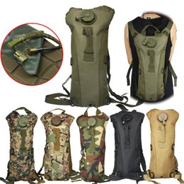 plain packs NZ - 3L Portable Hydration Packs Camo Tactical Bike Bicycle Camel Water Bladder Bag Assault Backpack Camping Hiking Pouch Tools 2019