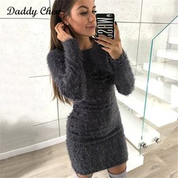 $enCountryForm.capitalKeyWord Canada - Fashion Winter Plush sweater Dress Women Party night Bodycon Christmas Black clothing Sexy Mini bandage knitted Dress For Female D19010501