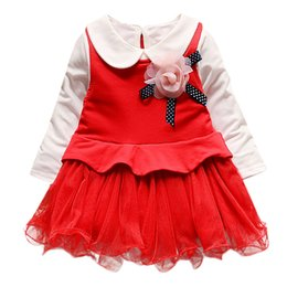 f710e0f62 Girls Dress Vestidos Tulle Tutu Autumn Red Pink Flower Princess Kids Dresses  For Party Wedding Girl Baby Clothes Toddler 19Jan28