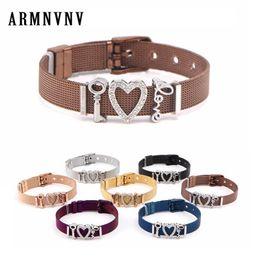 $enCountryForm.capitalKeyWord Australia - Stylish Mesh Keeper Bracelet Stainless Steel DIY Slide Rhinestones Heart Key Love Charms Adjustable Belt Buckle Bracelets