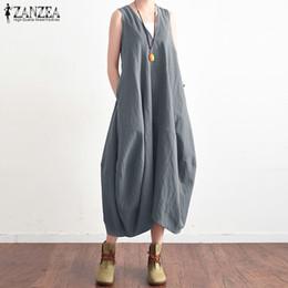 d7cd598d3d737 2019 Zanzea Summer Elegant Women V Neck Sleeveless Cotton Linen Long Dress  Solid Baggy Casual Lace Up Backless Vestido Plus Size T190411