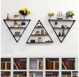 Modern wall Metal art online shopping - Metal shelf on the wall Creative iron art Walls hanging on triangular wall Decorative clapboard Flower rack on the wall Bedroom Furniture