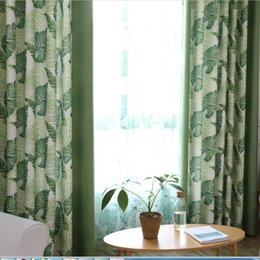 blackout fabric NZ - Blackout Curtains for Living Room Leaves Blinds Tulle Curtain for Kids Children Room Bedroom Window Curtain Cortina Panel Fabric