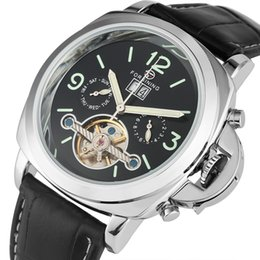 Classic Leather Watches For Men Australia - Special Luminous Arabic Numerals Dial with Calendar Wristwatch Classic Automatic Mechanical Watches Casual Black Leather Band Watch for Men