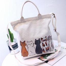 Japanese Canvas Prints Australia - New Cat Print Canvas Shoulder Bag Female Sling Hand Bags Japanese Korean Student Fashion Handbags Crossbody Messenger Bag Purse