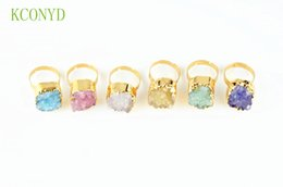Wholesale Natural crystal bud ring ShuiJingJing buds vug The adjustable ring ring openings