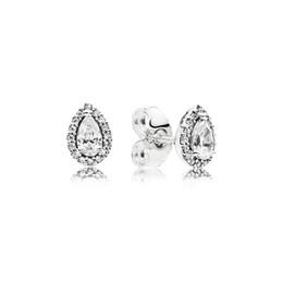 Pandora earrings online shopping - CZ Diamond Stud Earrings for Women Luxury Jewelry with box for Pandora Sterling Silver Tear drop Wedding Earring Set