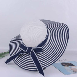 $enCountryForm.capitalKeyWord Australia - 2019 new hot sale comfortable personality casual summer beach sunshade cap blue blue white straw hat summer female sunscreen sun hat