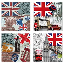 Bus Painting Australia - 4 Panels Canvas Painting London Street View Bus Picture Prints Stretched Framed Art Wall Art Modern Home Bedroom Living Room Decor