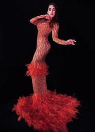 $enCountryForm.capitalKeyWord Australia - Birthday Celebrate Women Dress Red Rhinestones Feather Dress Festival Clothing Prom Evening Stage Singer Dancer Long Train