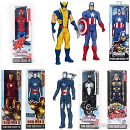 marvel toys wholesale UK - The Avengers PVC Action Figures Marvel Heros 30cm Iron Man Spiderman Captain America Ultron Wolverine Figure Toys