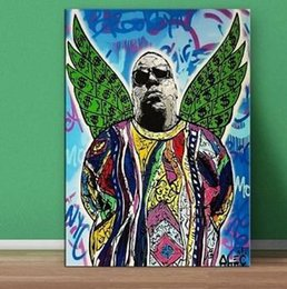 wings art Australia - High Quality Alec Monopoly Handpainted &HD Print Graffiti Art oil Painting green wings Notorious BIG Wall Art Home Dec On Canvas Multi sizes