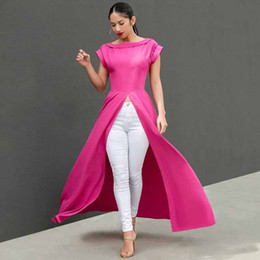 Maxi T Shirts Sexy Australia - fashion Women Short Sleeve Maxi Dress Front Split Long Skirts Sexy Casual Summer clothes night club sexy Top long t-shirt plus size s-2XL