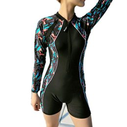 $enCountryForm.capitalKeyWord NZ - Zipper One Piece Swim Wear Padded Long Sleeve Swimwear for Women Patchwork Colors Rashguard Large Size Swimming Surfing Body Suits Wire Free