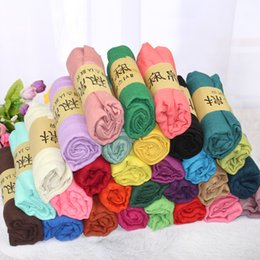 Scarfs Cotton Australia - New Colorful Cotton Linen Scarf Hijab Turban Head Wrap Solid Color Cape Scarf Beach Holiday Cover Up Wrap Scarf