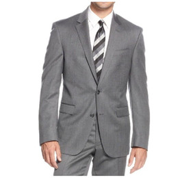 Designer Grooms Tuxedo Australia - Gray Goorm Tuxedos 2019 Two Button Notched Lapel Men tuxedos groom wedding Slim Fit mens designer spring Three Pieces (Jacket+pants+Tie))