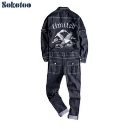 black overall long pants 2019 - Sokotoo Men's embroidery long detachable sleeve black denim jumpsuits Casual embroidered pockets cargo jeans Overal