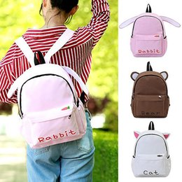 Discount brown bear backpack - New Fashion Women's Portable Backpack Casual Wild Cute Rabbit Ear Bear Backpack #4L09