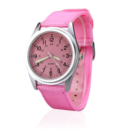 Pink Wrist Strap Australia - Orkina Women's 2019 Casual Fashion Matt Silver Case Simple Dial Pink Nylon Fabric Strap Wrist Watch ORK-0079