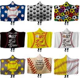 Wholesale geometric shawl cape resale online - Baseball Hooded Blankets Softball Soccer Rugby Sherpa Cloak Blanket D Print Cape Fleece Beach Shawls Towel Swaddling hot GGA1852