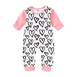 Discount cute toddler onesies - Spring INS Cute Toddler Baby Girls Love Heart Prnting Rompers Fall Long Sleeve Round Collar Jumpsuits Cotton Bodysuits O
