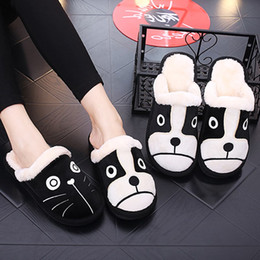 $enCountryForm.capitalKeyWord NZ - Cartoon Dog Cat Women Winter Home Slippers 3d Embroidery Non-slip Warm Men Women Boys Girls House Shoes Indoor Bedroom Slippers